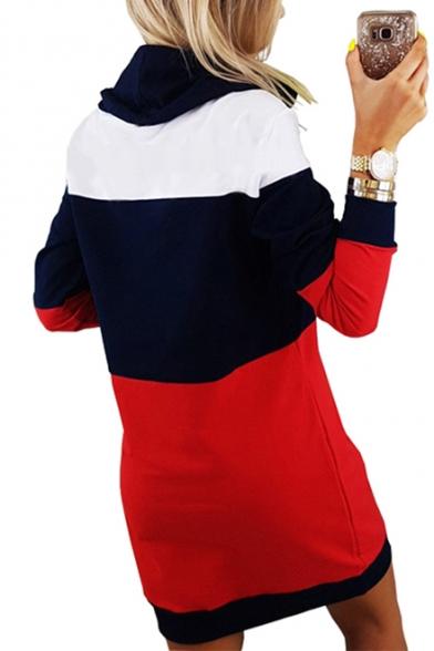 Women's Leisure Color Block Panel Long Sleeve Tunic Mini Dress