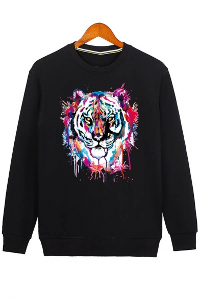 Sleeve Neck Long Pullover Casual Fashion Sweatshirt Tiger Print Round Unisex qwfpH17