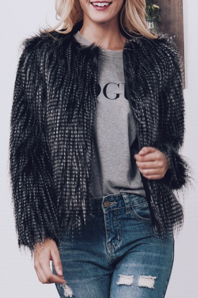 Fashion Fur Coat Faux Long Front Open Warm Sleeve vwvZSzr