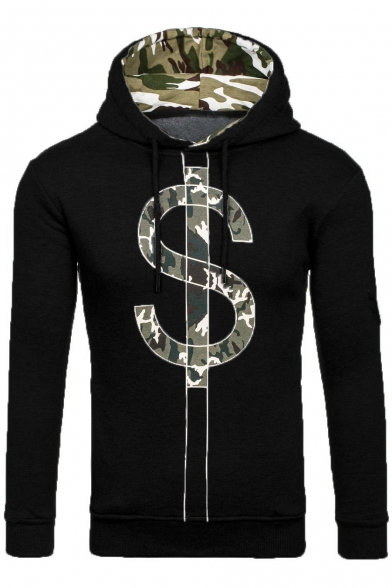 Sleeve Camouflaged Letter Hoodie Padded Long Pullover Pattern qI8nRwTnB