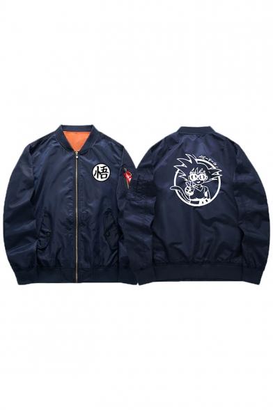 Zippered Jacket Fashion Bomber Stand Up Sleeve New Print Cartoon Long Collar xYqwnaqRCv