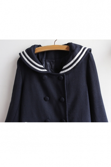 New Fashion Chic Navy Collar Striped Long Sleeve Buttons Down Coat