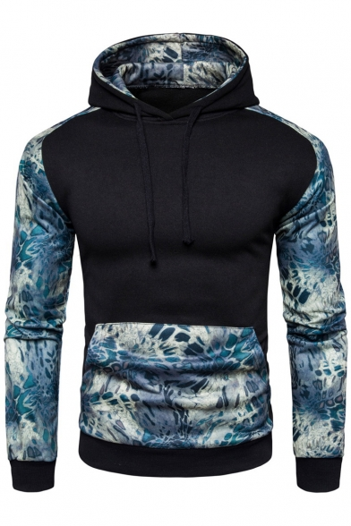 Drawstring Hood Hoodie Color Sleeve Stylish New Print Long block WHCnOPFn