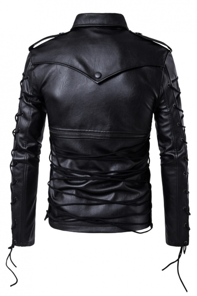 Biker Plain New Sleeve Zipper Stylish Jacket Long Simple Faux up Lace Leather wqHZvwg