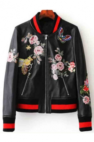 New Stylish Striped Trim Floral Pattern Zipper Stand-Up Collar Biker Jacket