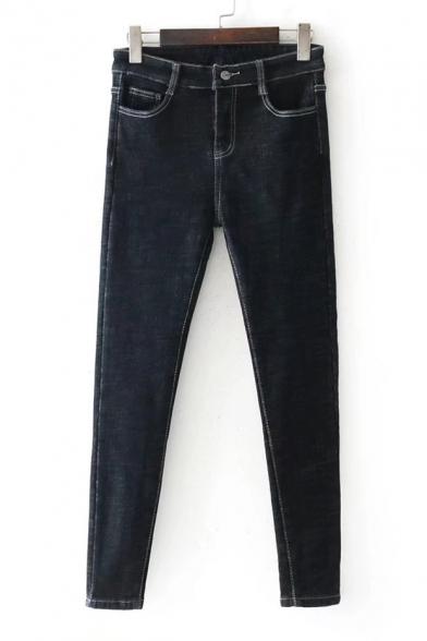 New Stylish Zip Fly Simple Plain Skinny Jeans