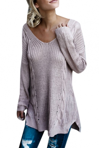 Long Sweater Neck Simple V Crisscross Back Plain Sleeve qHq0SXwR