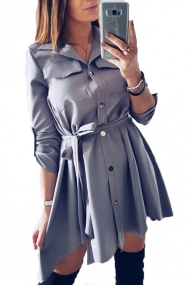 Half Sleeves Lapel High Low Hem Buttons-Down Belted Utility Dress with Chest-Pockets