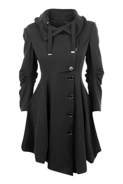 Down Notched Stylish Long Placket Midi Hem Flared Button Collar Turn Sleeves Coat Asymmetric down RR0Sv