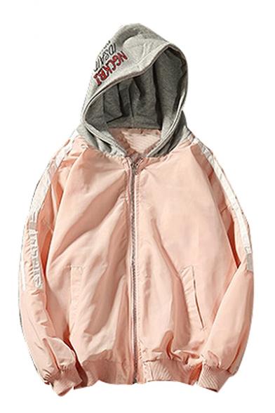 Trendy Letter Pattern Stripe Long Sleeve Zippered Baseball Jacket