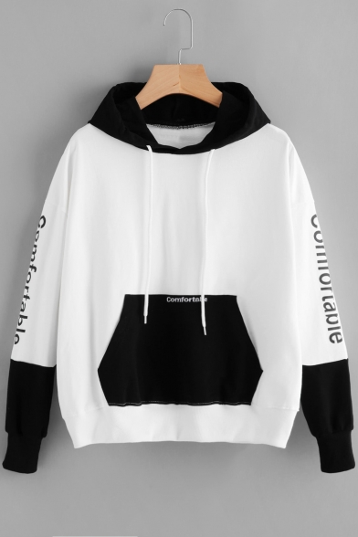 Chic Sleeve Letter Color Long Hoodie Block Print Drawstring Hood 4rZ4qwR