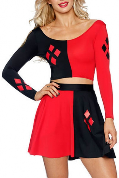 Color Block Boat Neck Long Sleeve Cropped Tee With High