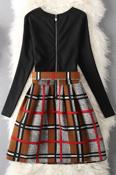 Color Block Plaid Round Neck Long Sleeve Skater Mini Dress