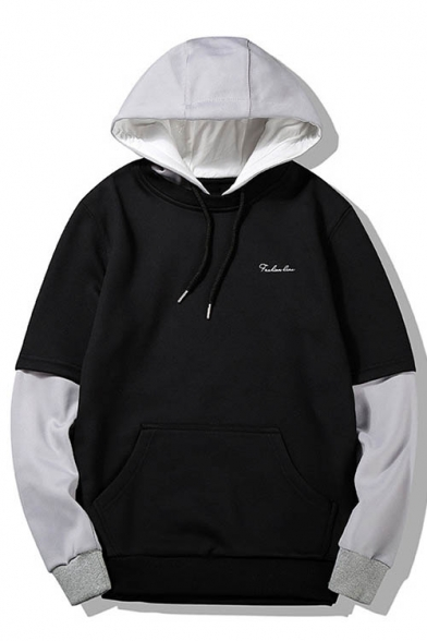 Hood Piece Two Color Unisex Drawstring Hoodie Block Fake Fashion wxUnqFgg