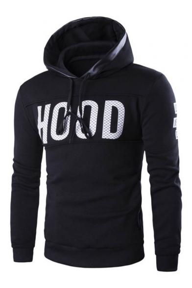 Fashion Letter Print Drawstring Hood Long Sleeve Unisex Hoodie