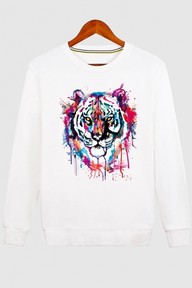 Long Unisex Round Print Pullover Fashion Neck Tiger Casual Sleeve Sweatshirt Sq6II0P