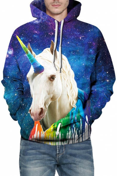 Galaxy Colorful Unicorn Printed Long Sleeve Hoodie with Kangaroo Pocket