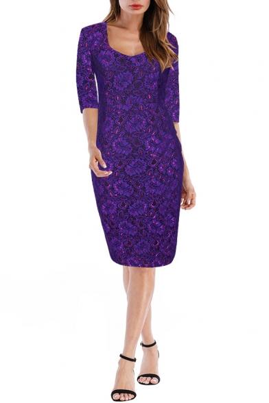 Mew Stylish Print V Neck Half Sleeve Split Back Dress