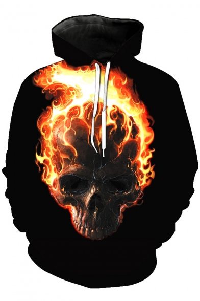 Print Sleeve New Skull Fashion Flame Long Hoodie Firing xw8wfZ