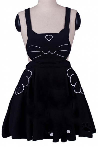 New Fashion Leisure Cat Embroidered Overall Mini Dress