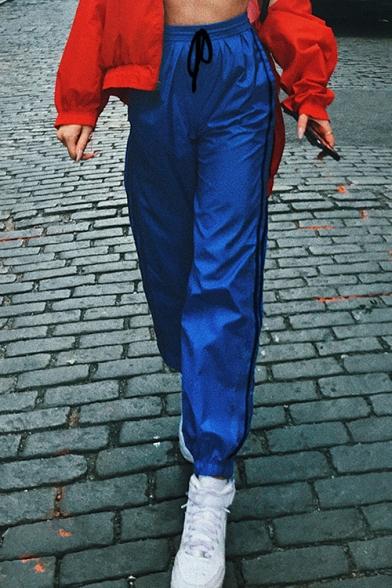New Fashion Leisure Striped Side Drawstring Waist Sports Pants