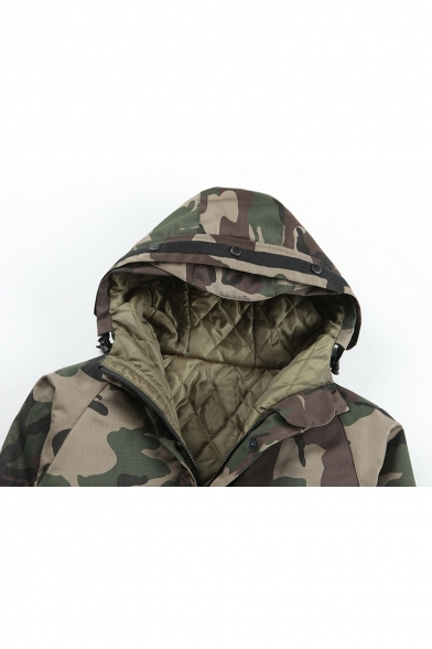 New Fashion Simple Camouflage Pattern Zip Placket Long Sleeve Hooded Coat
