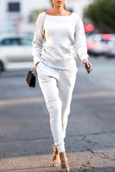 New Fashion Simple Leisure Plain Sports Co-ords, Black;burgundy;green;white;gray, LC455455