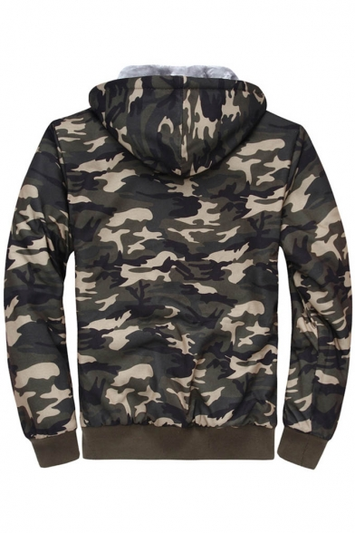 Sleeve Zipper Coat Unisex Camouflage New Long Hooded Stylish Sf6gng