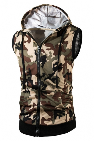 Stylish Drawstring Hood Print New Camouflage Sleeveless Zip Up Hoodie qnSH1xdA