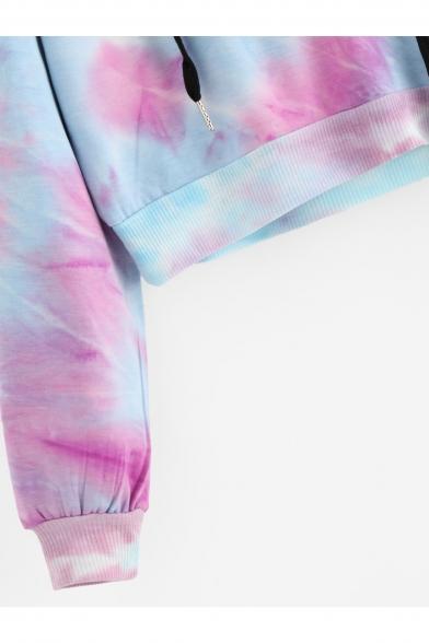 Hoodie Sleeve Print Stylish Color Long Block New Crop Drawstring W8qvFAzw