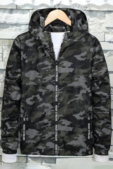 Jacket Stylish New Zipper Sleeve Print Camouflaged Long Hooded nOvCvw1q4