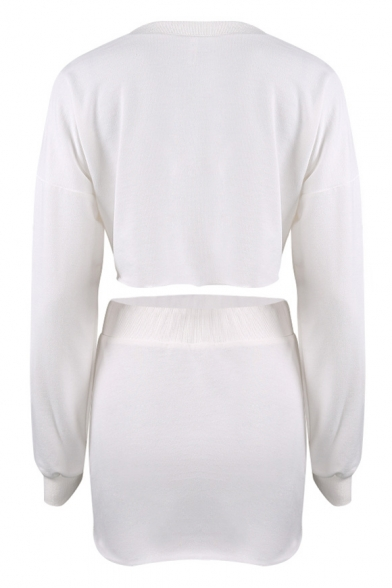 New Stylish Plain Long Sleeve Cropped Sweatshirt Mini Skirt Leisure Co-ords