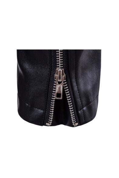 Punk Notched Lapel Long Sleeve Zippered Biker Jacket with Zipped-Pockets