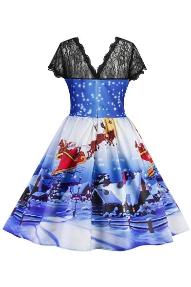 Snow Santa Deer Christmas Printed Short Sleeve Midi Fit & Flare Lace Panel Dress