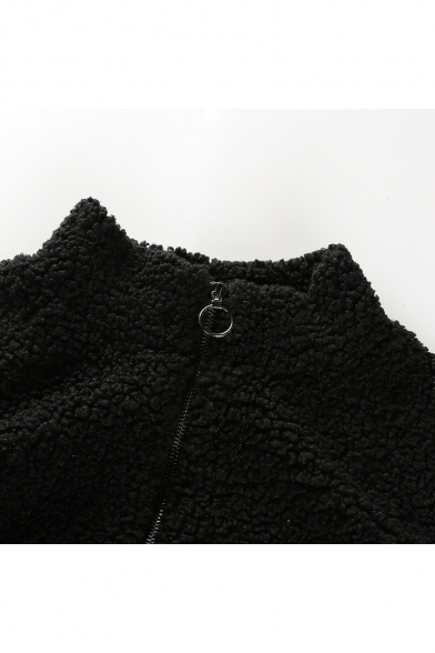 Simple Plain Long Sleeve Stand-Up Collar Zipper Cropped Coat