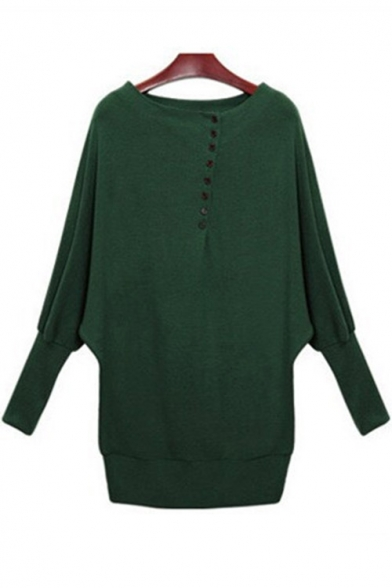 Placket Round Neck Batwing Sleeve Long Buttons Sweater Plain Simple Pullover qOfPIw