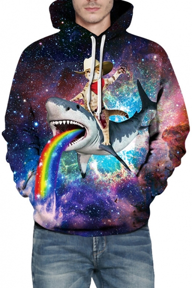 Space Cowboy-Cat Shark Rainbow Printed Long Sleeve Hoodie with Kangaroo Pocket