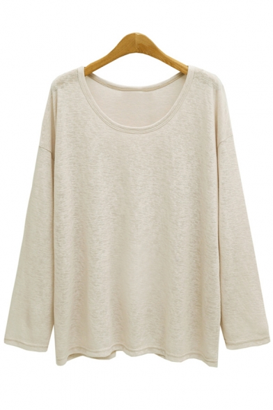 Simple Plain Round T Neck Shirt Sleeves Women's Fashion Long Z5aqvgT