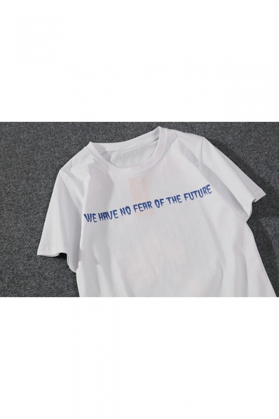 Graphic Letter Loose Casual Printed Tee Sleeve Round Neck Short d75qT50x