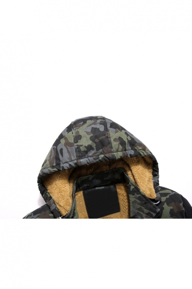 Sleeve Coat Block Hooded Color Camouflage Long Chic Zipper SRqg7x
