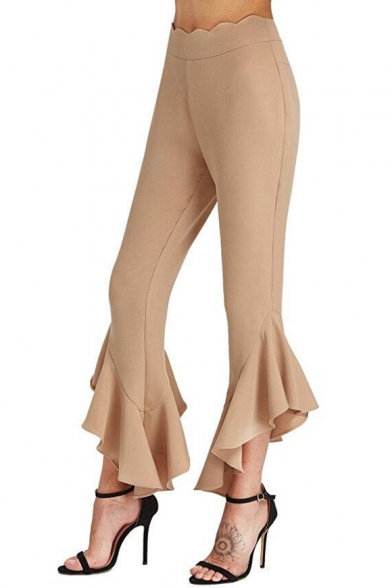 Chic Simple Plain Ruffle Hem High Waist Capri Pants