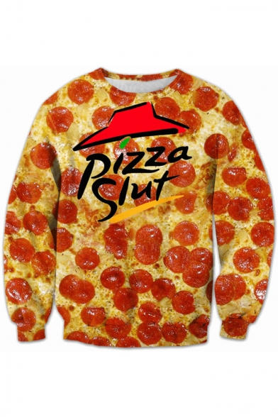 Fashion 3D Letter Pizza Print Round Neck Long Sleeve Pullover Sweatshirt