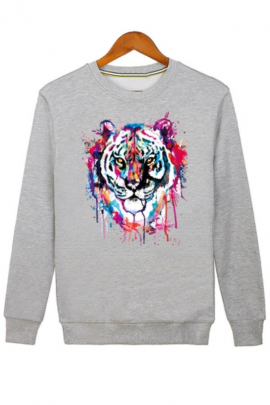 Sleeve Fashion Casual Tiger Unisex Neck Pullover Sweatshirt Long Print Round OXfqwXg