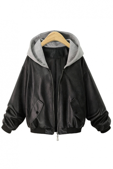 New Fashion Color Block Hooded Zip Placket Long Sleeve PU Jacket
