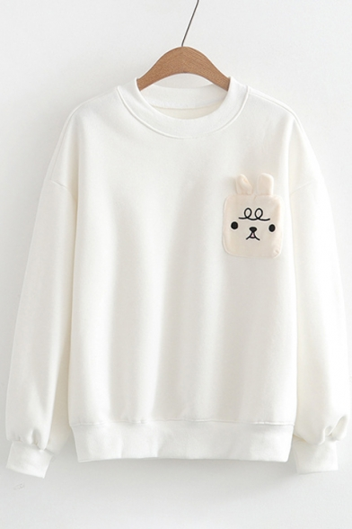 Loose Cartoon Stylish Cat Neck Sweatshirt Round Long Pattern Pullover Sleeve New 68pqx5ZwZ