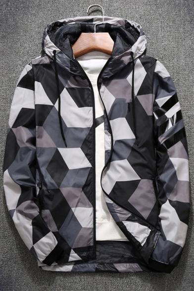 New Stylish Color Block Print Long Sleeve Zipper Leisure Hooded Jacket