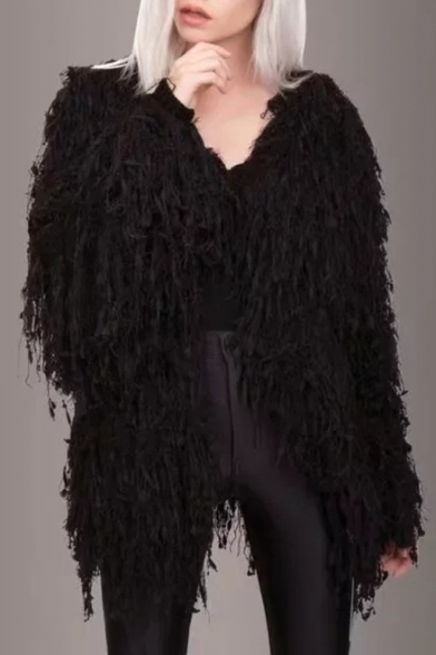 Купить со скидкой New Stylish Faux Fur Long Sleeve Open Front Tassel Embellished Plain Coat
