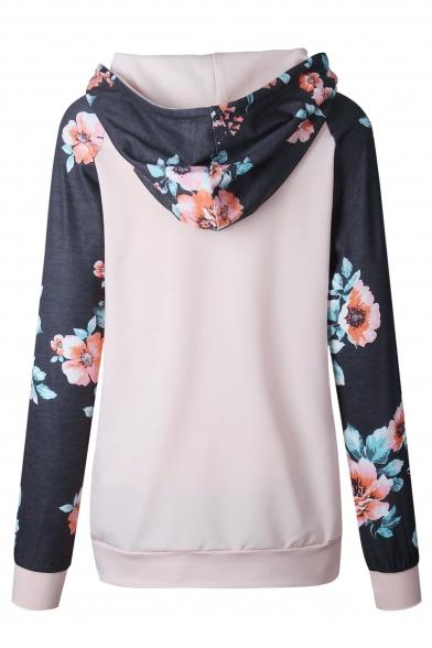 Sleeve Stylish New Hoodie Long Print Hood Drawstring Floral x8Zn8U