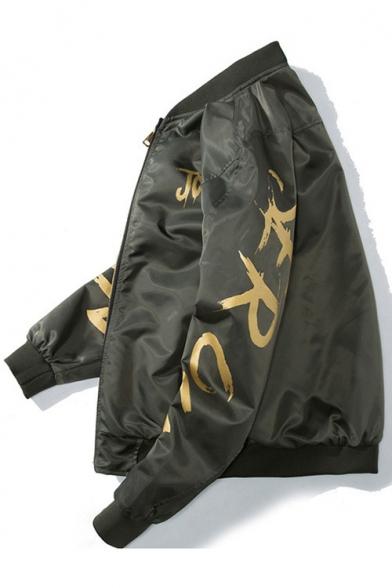 New Stylish Letter Print Stan-Up Colla Long Sleeve Zipper Bomber Jacket