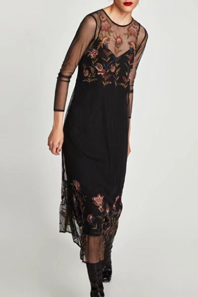 Sexy Sheer Round Neck Long Sleeve Floral Embroidered A-line Dress, LC454339